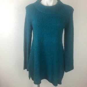 Umgee Teal Long Sleeve Loose Knit Tunic  Sweater S